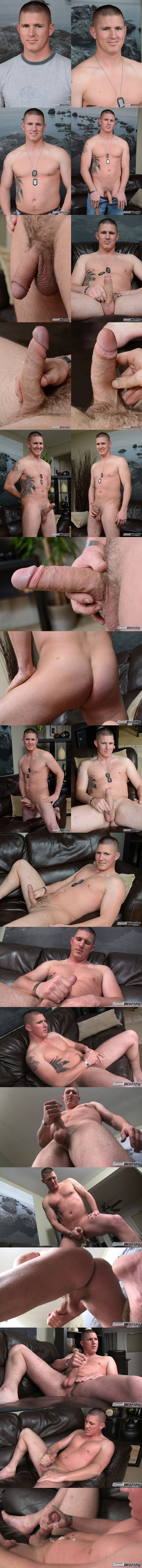 Sexy Straight Marine uncut big-dicked Eli dumps a creamy load in his porn debut at Spunkworthy 01