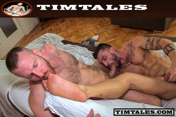Big-dicked Tim Kruger fucks a big load out of masculine Sergio Moreno with foot fetish at Timtales