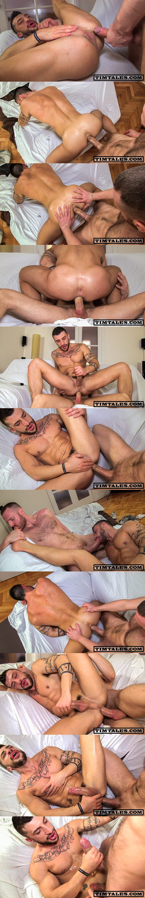 Big-dicked Tim Kruger fucks a big load out of masculine Sergio Moreno with foot fetish at Timtales 01