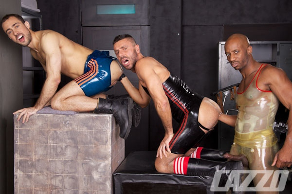 Masculine guys Ale Tedesco, Race Cooper and Sylvaint Lyk have hot sandwich fisting fucking train at Cazzoclub