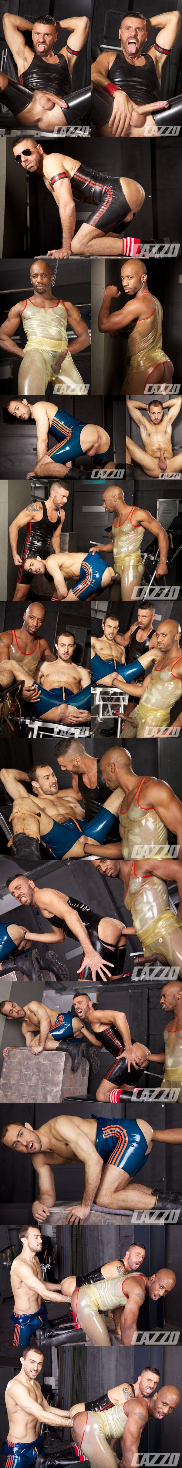 Masculine guys Ale Tedesco, Race Cooper and Sylvaint Lyk have hot sandwich fisting fucking train at Cazzoclub 01