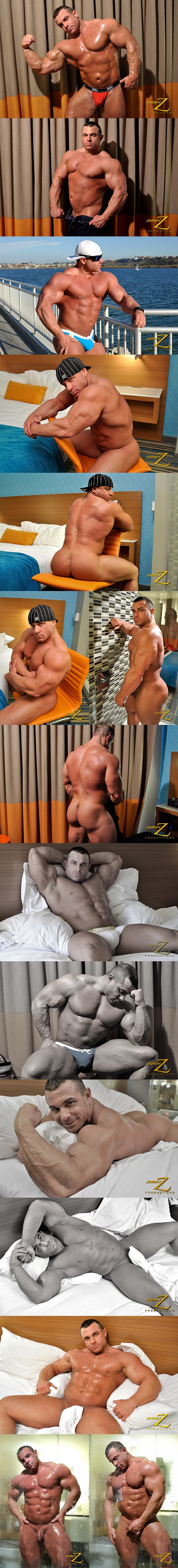 Hot bodybuilder Chaz Ryan shows off his hard muscles and strokes his cock in An Invited Voyeur Part 2 at Jimmyzproductions 01