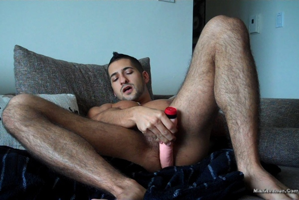 Hot straight hunk Eddie Cambio busts his nuts with a dildo assplay at Manavenue