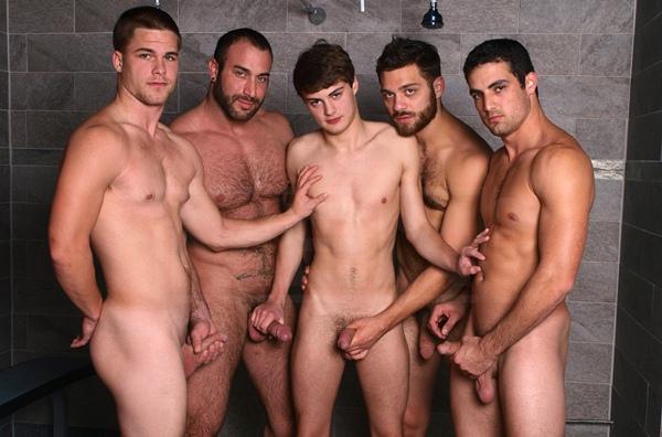 Masculine hunky Spencer Reed, Tommy Defendi and Jimmy Johnson gangbang fuck cute boy Hunter Page Jizz Shower at Jizzorgy