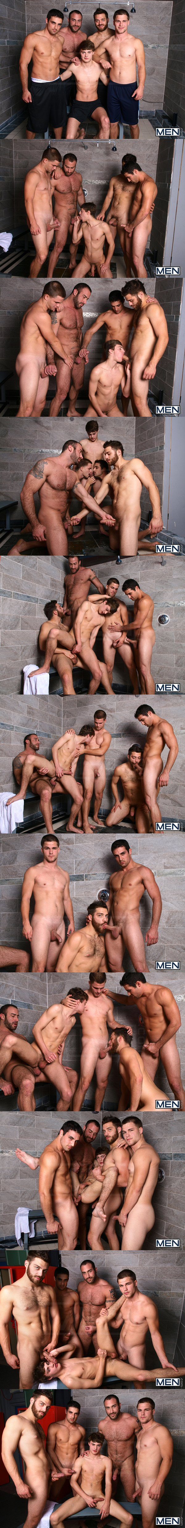 Masculine hunky Spencer Reed, Tommy Defendi and Jimmy Johnson gangbang fuck cute boy Hunter Page Jizz Shower at Jizzorgy 01