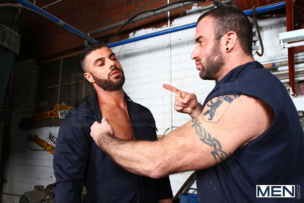 Masculine rough Spencer Reed fucks a big load out of bearded handsome Alex Marte in Late For Work at Drill My Hole