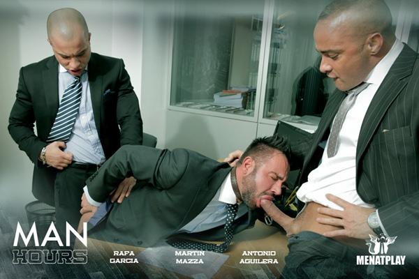 Handsome straight porn stars Rafa Garcia and Antonio Aguilera fucks bearded Martin Mazza in Man Hours at Menatplay