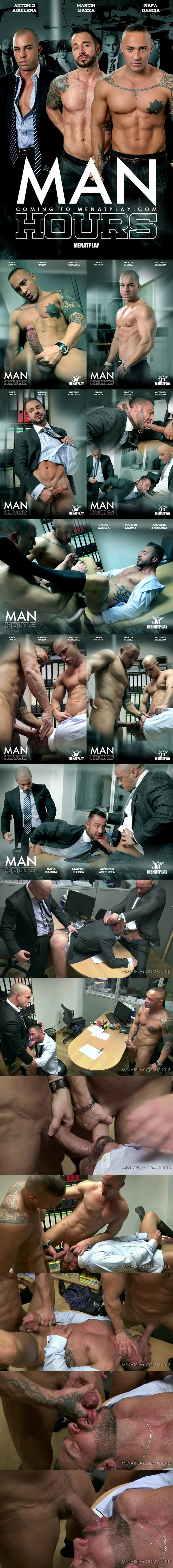 Handsome straight porn stars Rafa Garcia and Antonio Aguilera fucks bearded Martin Mazza in Man Hours at Menatplay 01