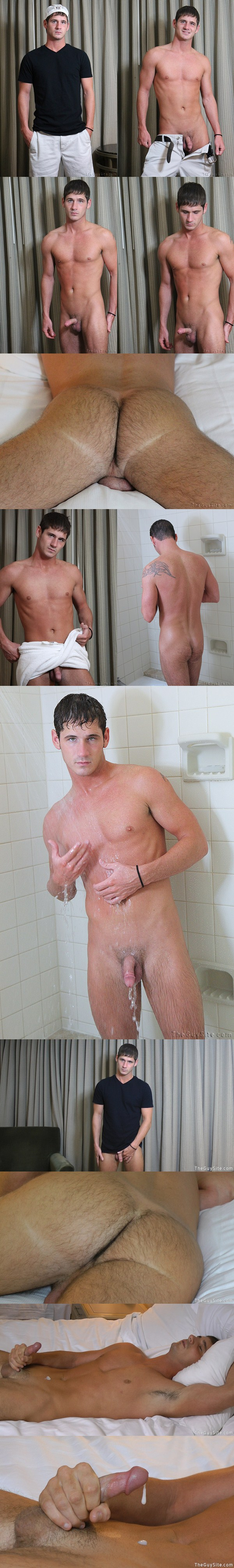 Hot green-eyed country boy Channing jerking off solo at Theguysite 01