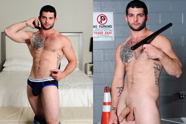 Masculine tattooed hunk Tony Paradise will get his virgin muscle ass popped up at Men.com