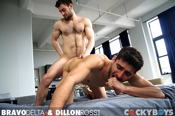 Handsome well-hung Bravo Delta pounds Dillon Rossi at Cockyboys