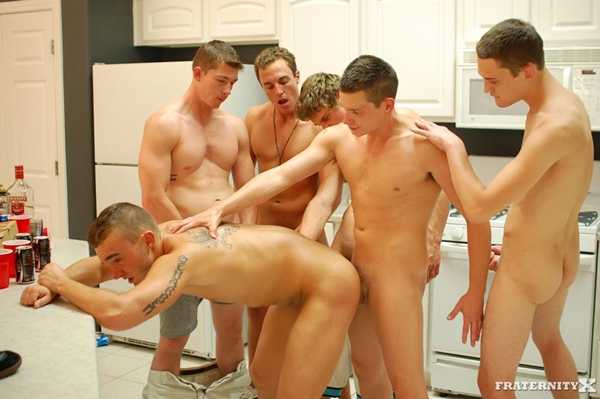 Grant gets bareback gangbanged and creampied by five college dudes in 5 Dudes 2 Holes at Fraternityx