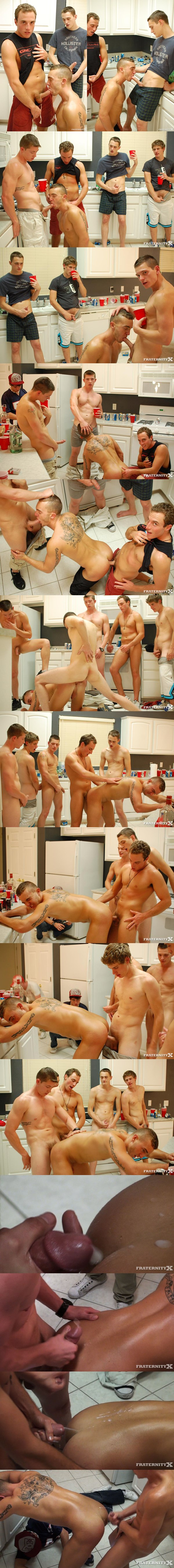 Grant gets bareback gangbanged and creampied by five college dudes in 5 Dudes 2 Holes at Fraternityx 01