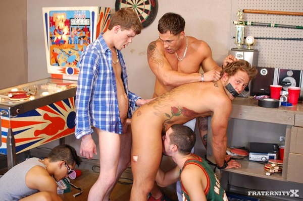 Hung Jackson barebacks & breeds Carter and Trevor in their muscle ass in Pay Back at Fraternityx