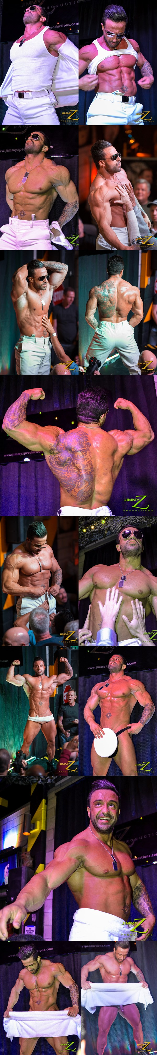 Masculine bodybuilder Armani has a hot strip show in BBJAM 33 at Jimmyzproductions 01