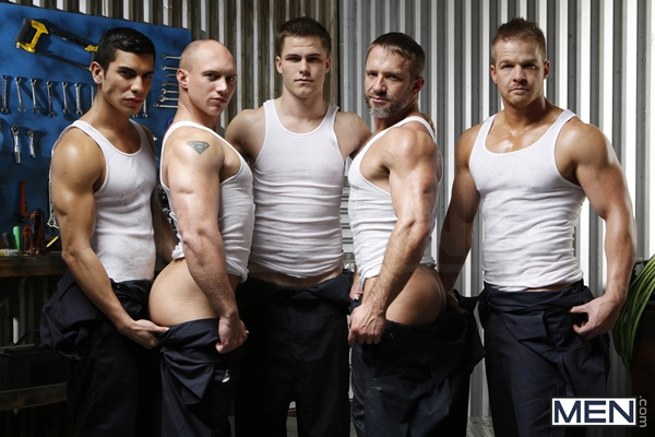 Jimmy Johnson, Liam Magnuson, Lance Luciano fuck Dirk Caber and John Magnum in The Shop at Jizzorgy