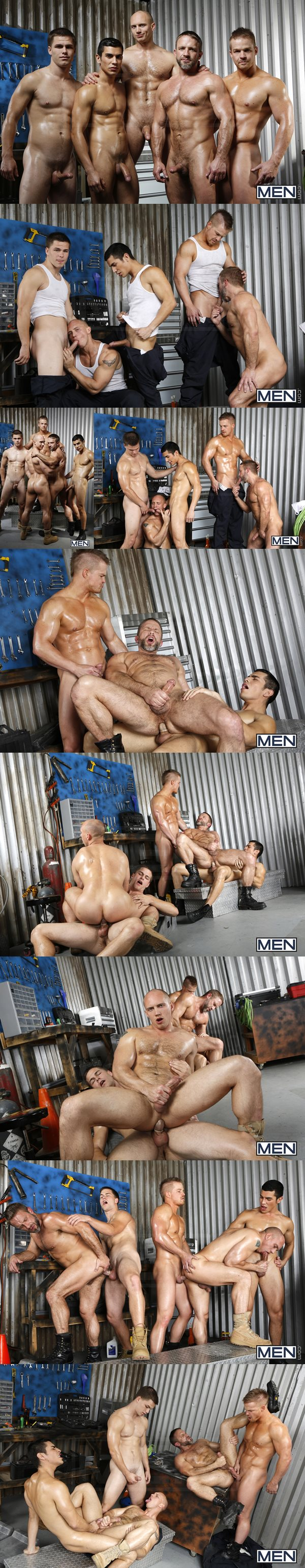 Jimmy Johnson, Liam Magnuson, Lance Luciano fuck Dirk Caber and John Magnum in The Shop at Jizzorgy 02