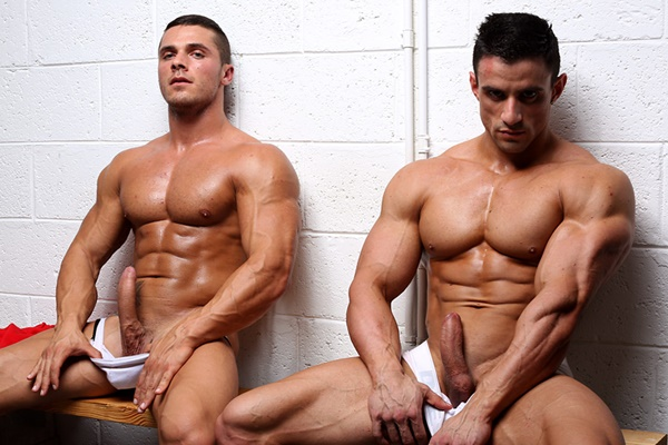 Handsome muscled Macho Nacho & Joey Van Damme Jack off in Who's Hustling Who at Powermen