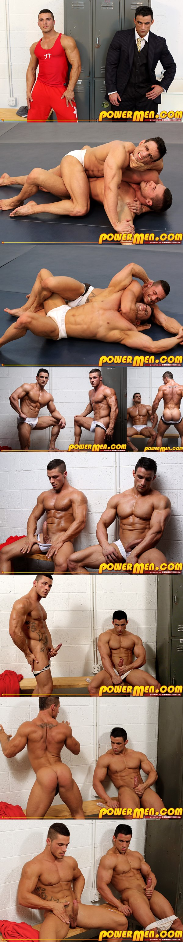 Handsome muscled Macho Nacho & Joey Van Damme Jack off in Who's Hustling Who at Powermen 02