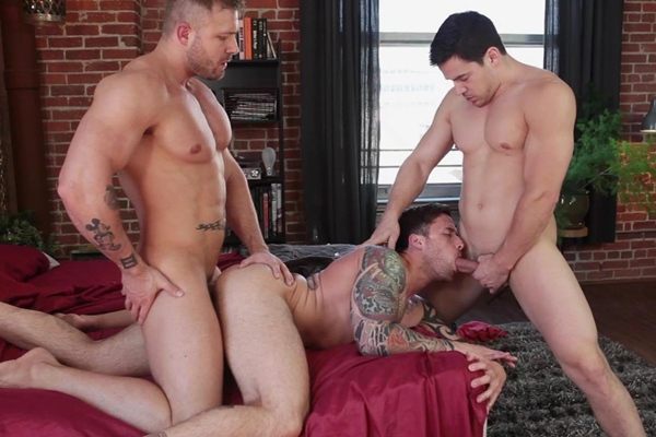 Austin Wolf fucks Chris Rockway and Jordan Levine in his virgin ass at randyblue
