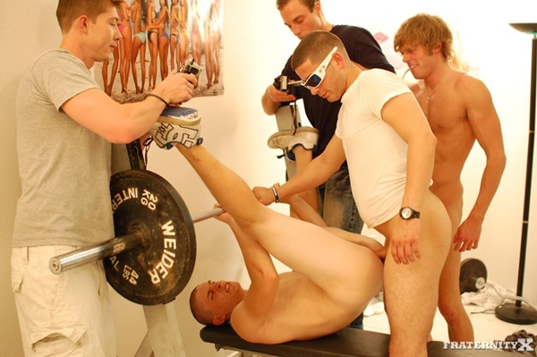 Big-dicked Andy & Morgan bareback and breed hot blond Jansen in Worked Out Hole at Fraternityx