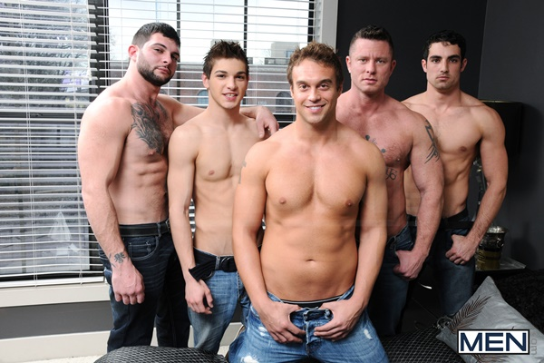 Tony Paradise, Charlie Harding & Jack King Fuck Johnny Rapid & Rocco Reed in Tops Only Required at Jizzorgy