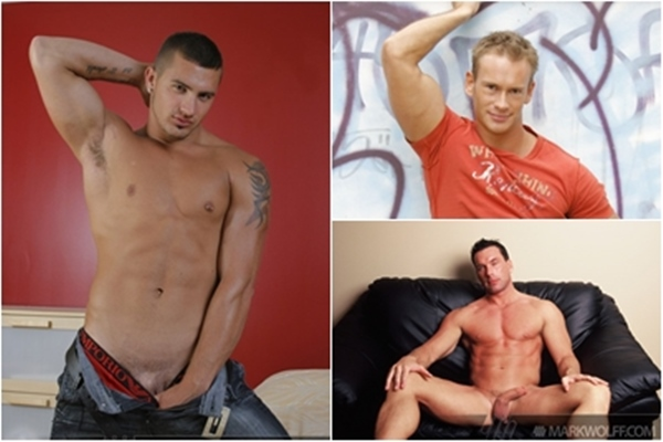 Handsome muscle hunk Chris Naslund, Tristan Scott & Gage Mason shoot their hot loads of cums at Markwolff