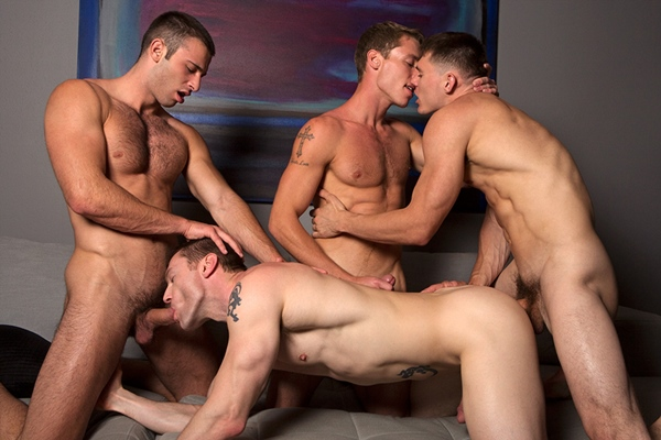 Liev, Taylor & Jarek bareback, creampie and breed Dennis in Bareback Fuckfest at Seancody