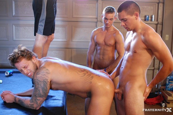 Kyle & Grant bareback and breed Carter in his manhole in Party Foul 4 at Fraternityx