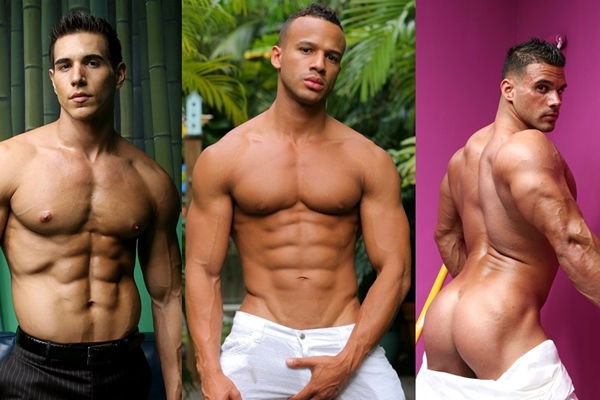 Sexy muscular Kevin Ramos, Kevin Collins and Johnny Carrera flex and jack off at Musclehunks