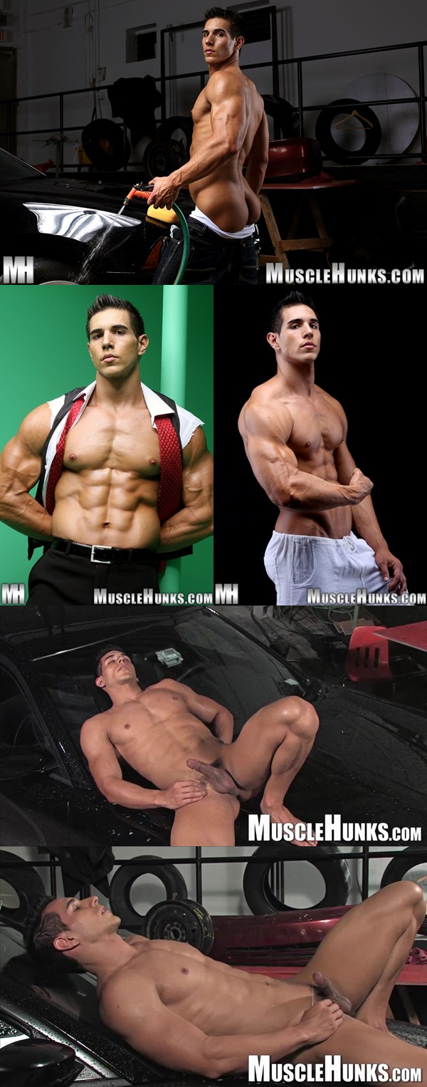 Sexy muscular Kevin Ramos, Kevin Collins and Johnny Carrera flex and jack off at Musclehunks 03
