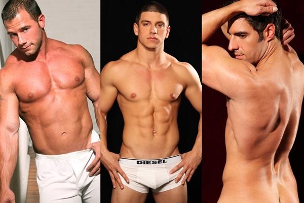 Hot muscular straight hunks Kent Slugger, Nico Bennett & Scott Jenkins shows off their hot bodies at Paragonmen