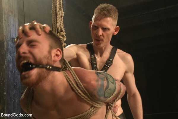 Leather dom Rob Yaeger abuses, tortures and fucks poor sub Sebastian Keys at Boundgods