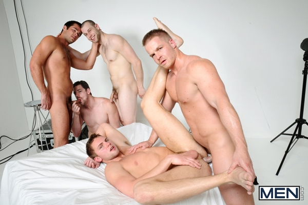 Mike De Marko & Jake Wilder get fucked by Andrew Stark, Kurt Von Ryder and Liam Magnuson in The Room at Jizzorgy