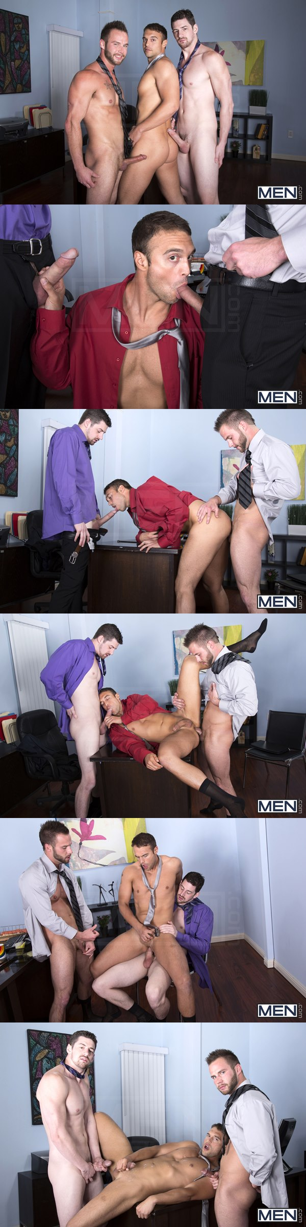 Chris Bines & Andrew Stark tag team Rocco Reed in The Sales Call at Thegayoffice