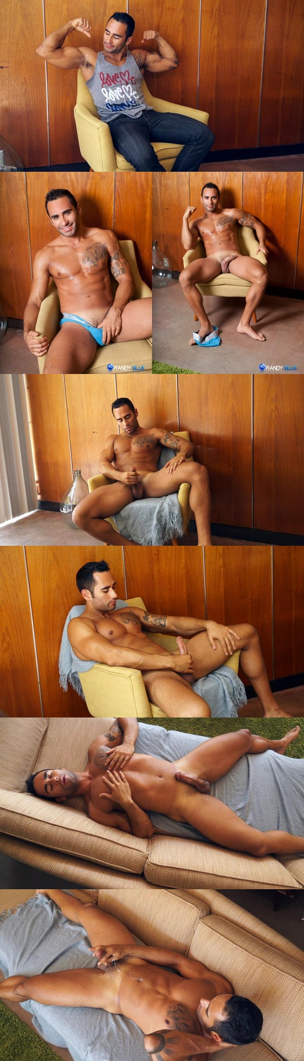 Hot Go Go Dancer Joey Santana shows off his muscles and uploads his creamy load at Randyblue