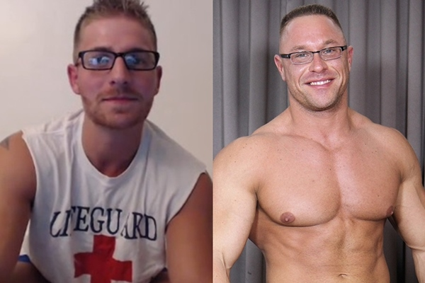 Logan Vaughn and Big Daddy John, aka Brock Vinson shoot their creamy load with glasses on.