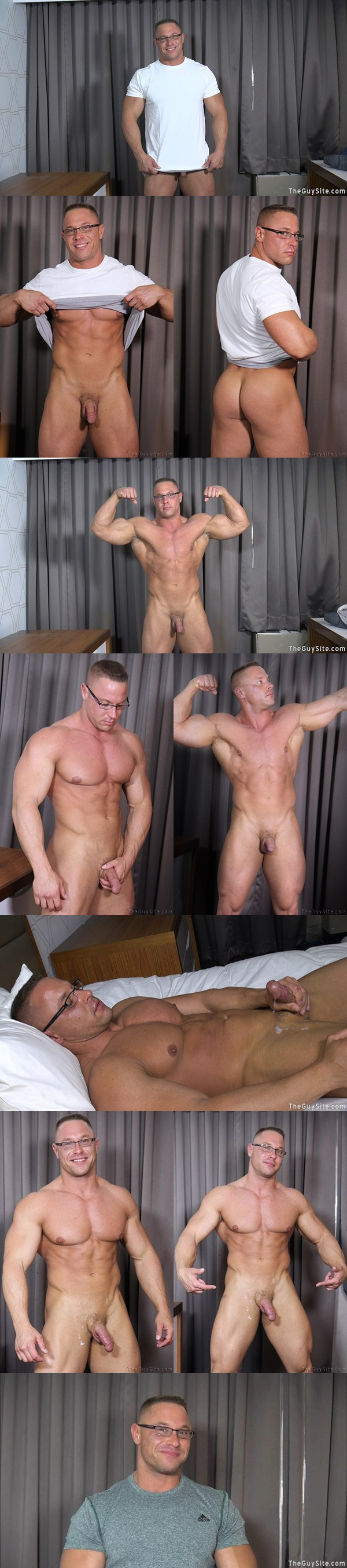 hot bodybuilder Big Daddy John aka Brock Vinson shows off his hard muscles and shoots his thick cum with glasses on at Theguysite