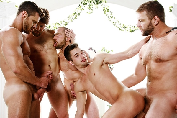 Colby Keller, Colby Jansen, Landon Conrad and Adam Herst fuck JD Phoenix in Sex Traveler Part 3 at Jizzorgy