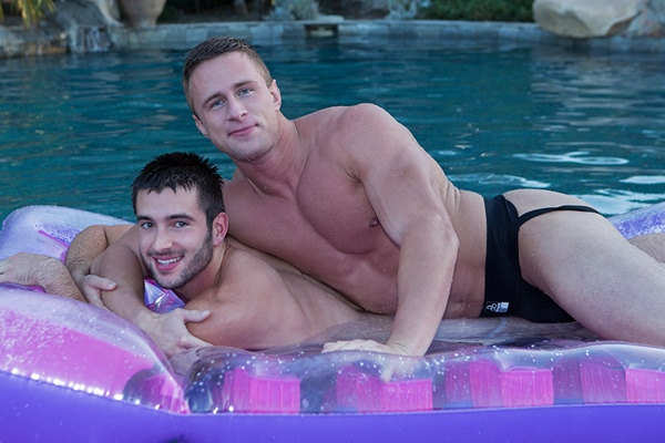Big-dicked blond hunk Abe barebacks and creampies handsome muscle jock Spencer at Seancody
