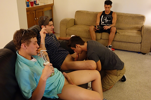 Cute freshman gets gangbang barebacked and bred by big-dicked college dudes in Pretty Boy Pt. 1 at Fraternityx