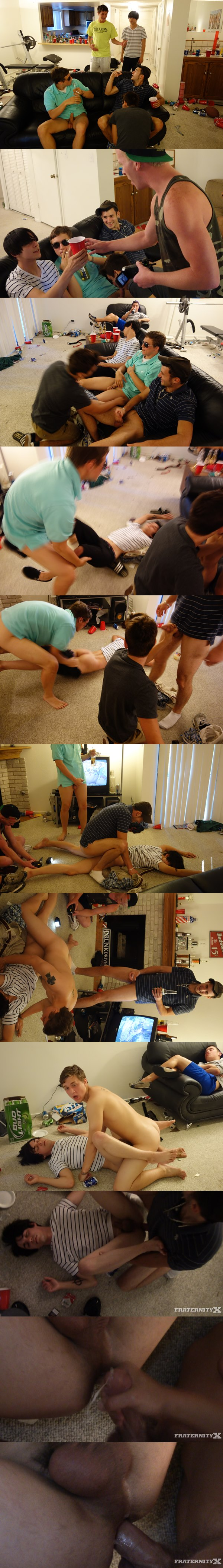 Cute freshman gets gangbang barebacked and bred by big-dicked college dudes in Pretty Boy Pt. 1 at Fraternityx 02