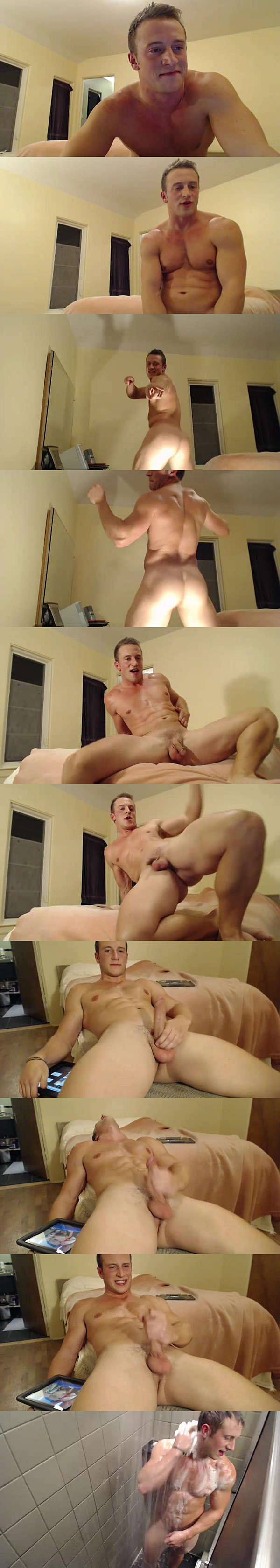 Hot energetic athletic jock Doc Tay Tay has a hot jacking off live show at Gayhoopla