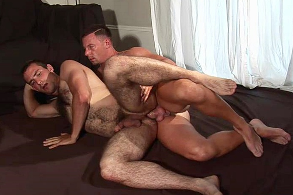 Big-dicked Theo Reid fucks a big load out of handsome hairy Guy Rogers at Hardbritlads