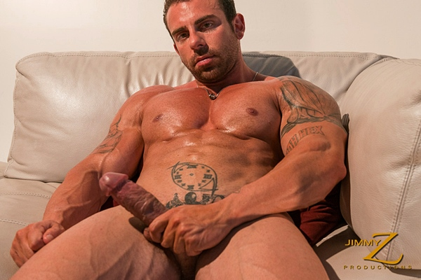Beefy hairy muscle hunk Xavier shows off his hard muscles and shoots a thick load of cum in Give Me The Money at Jimmyzproductions