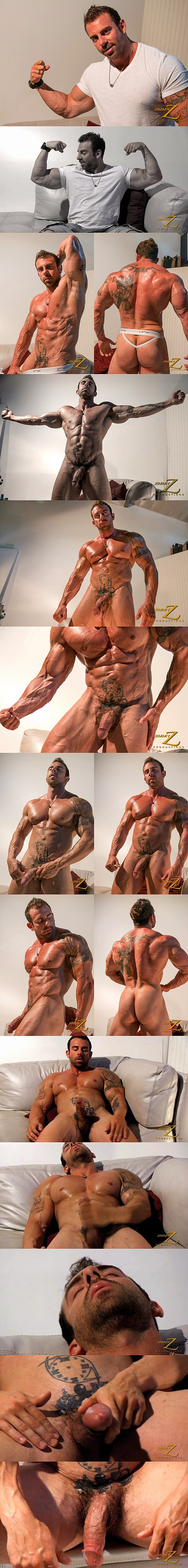 Beefy hairy muscle hunk Xavier shows off his hard muscles and shoots a thick load of cum in Give Me The Money at Jimmyzproductions 01