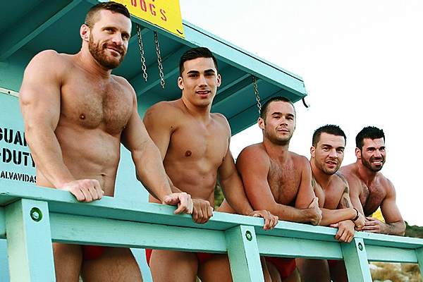 Topher DiMaggio, Landon Conrad, Billy Santoro and Braden Charron fuck Mike De Marko in Gaywatch Part 4 at Jizzorgy