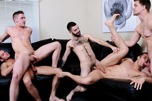 Jimmy Johnson, Josh Long and Cooper Reed Fuck Duncan Black and Connor Patricks in Power Bottoms at Jizzorgy