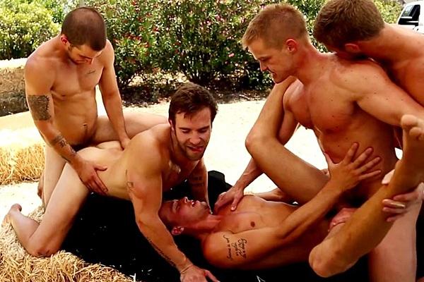 Liam Magnuson and Brandon Bronco slam Christian Cayden, Austin Storm and Corbin West's virgin ass in Gimme Five at Nextdoorbuddies
