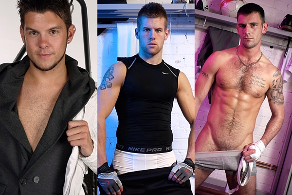 Handsome straight guys Benjamin Ryan, Jon Saunders and Steve Burgey jack off at Picturethis-studios